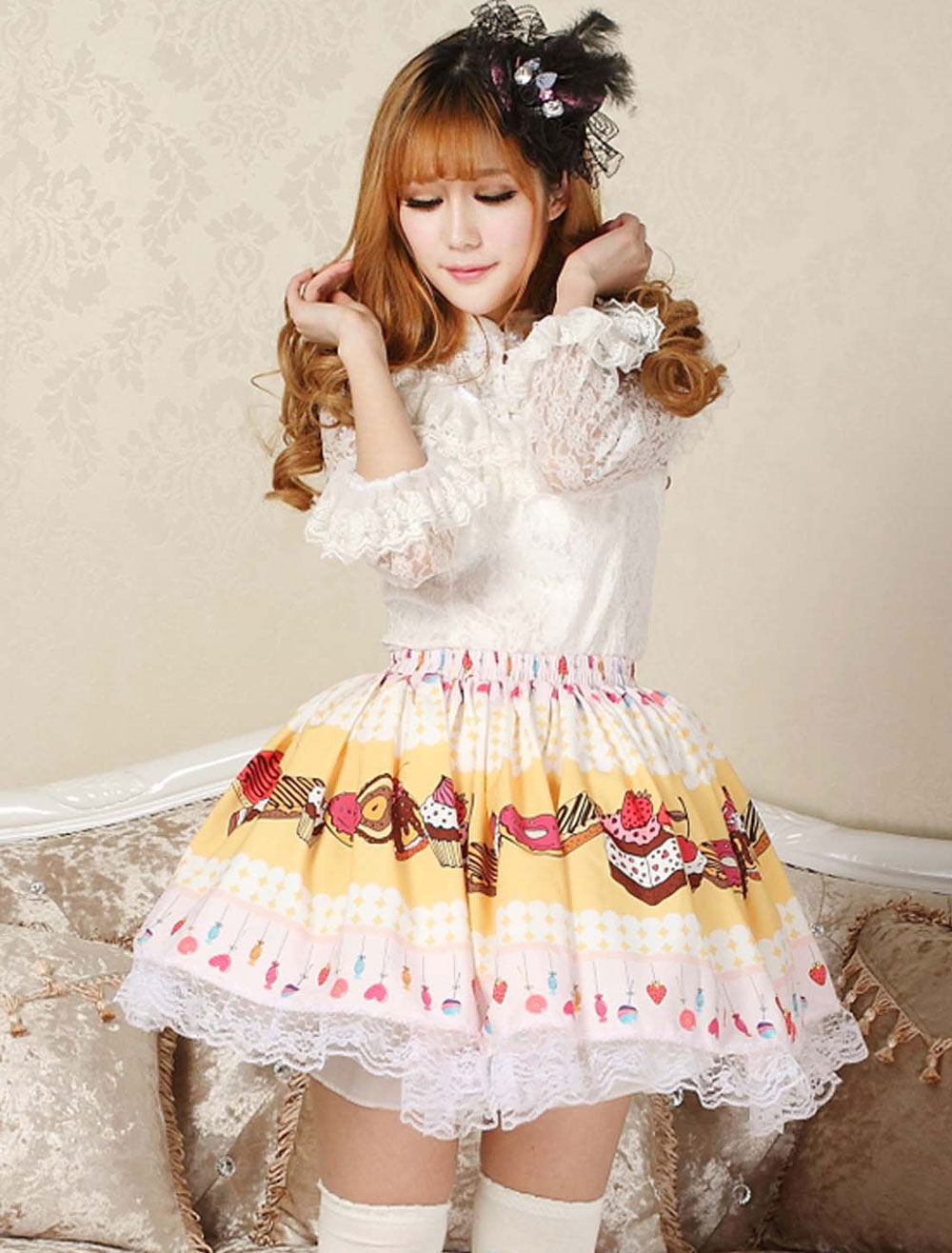 Buy Sweet Yellow Pink Lolita Short Skirt Lace Trim Cake Biscuit Print for $28.99 in Milanoo store