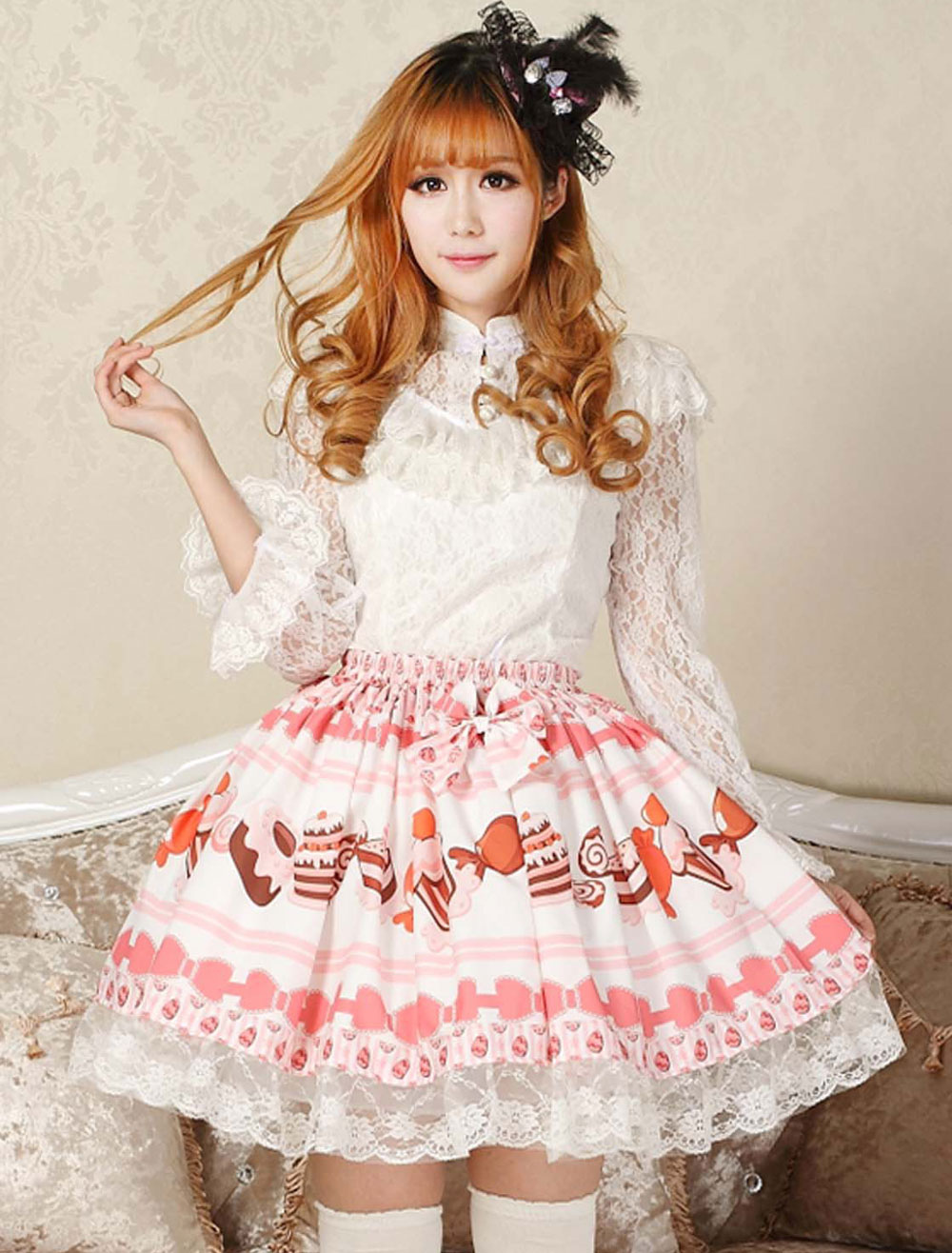 Buy Sweet Pink Lolita Short Skirt Cake Ice Cream Print Lace Trim for $30.59 in Milanoo store