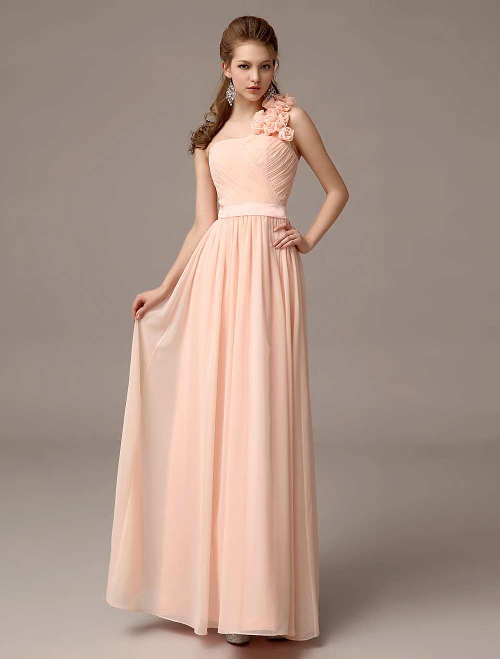 Gorgeous Floor-Length Nude Flower Chiffon Bridesmaid Dress with One-Shoulder A-line