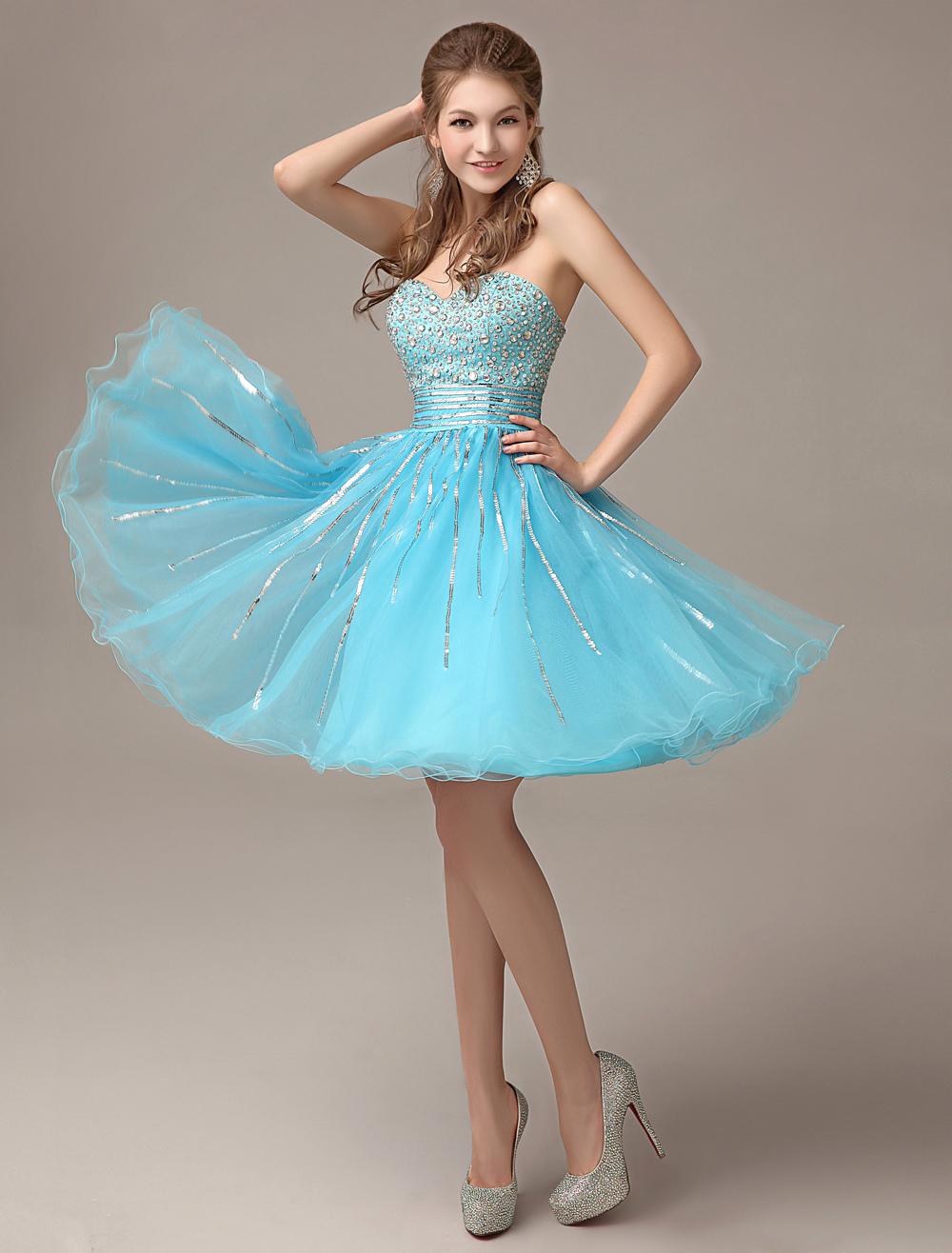Aqua Organza Prom Dress Sweetheart Sequin Homecoming Dress A Line Rhinestone Knee Length Party Dress