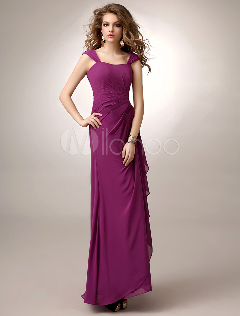 Magenta Mother Of Bride Dress A Line Side Draping Chiffon Floor Length Straps Wedding Party Dress
