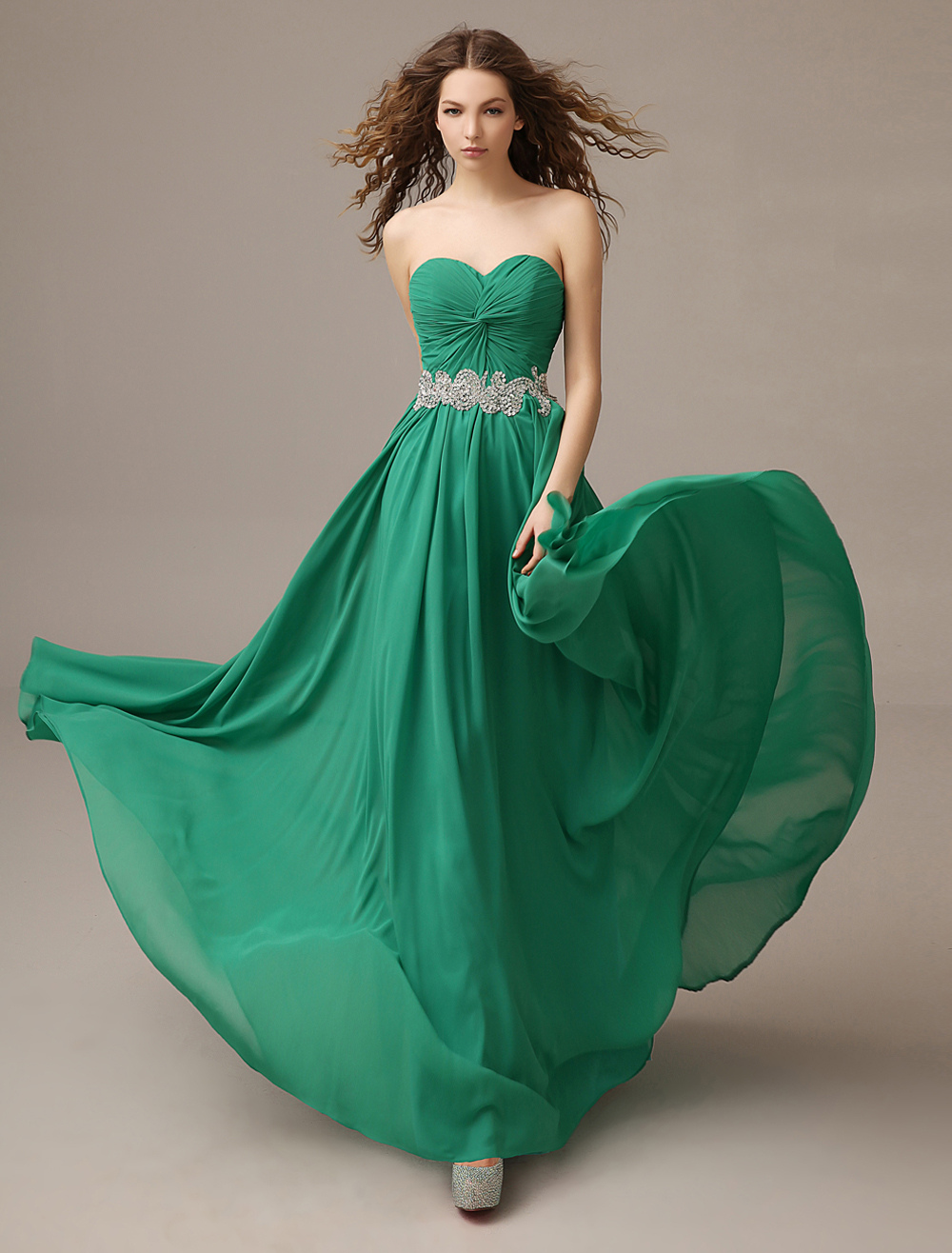 Sweetheart Prom Dress A Line Twisted Chiffon Evening Dress Dark Green Pleated Backless Party Dress