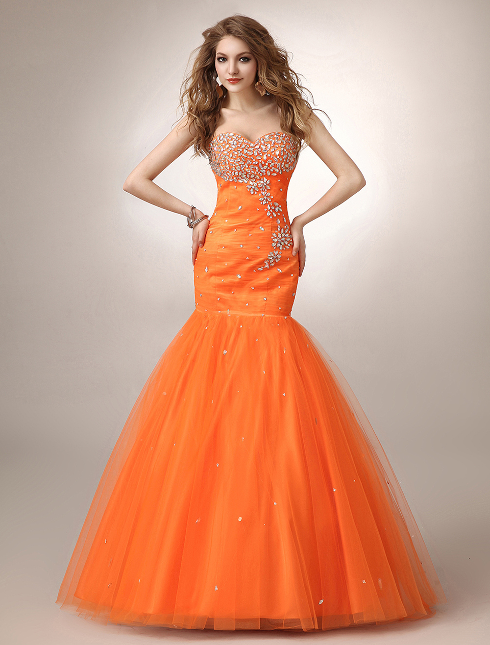 Mermaid Orange Rhinestone Tulle Prom Dress with Sweetheart Neck