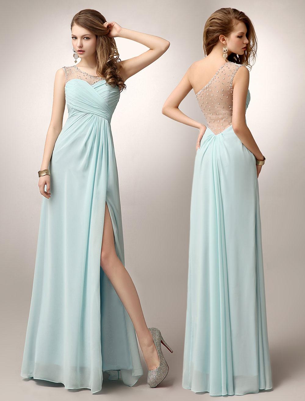 prom dresses long 2018 Mint Green One Shoulder High Split beaded formal party dress