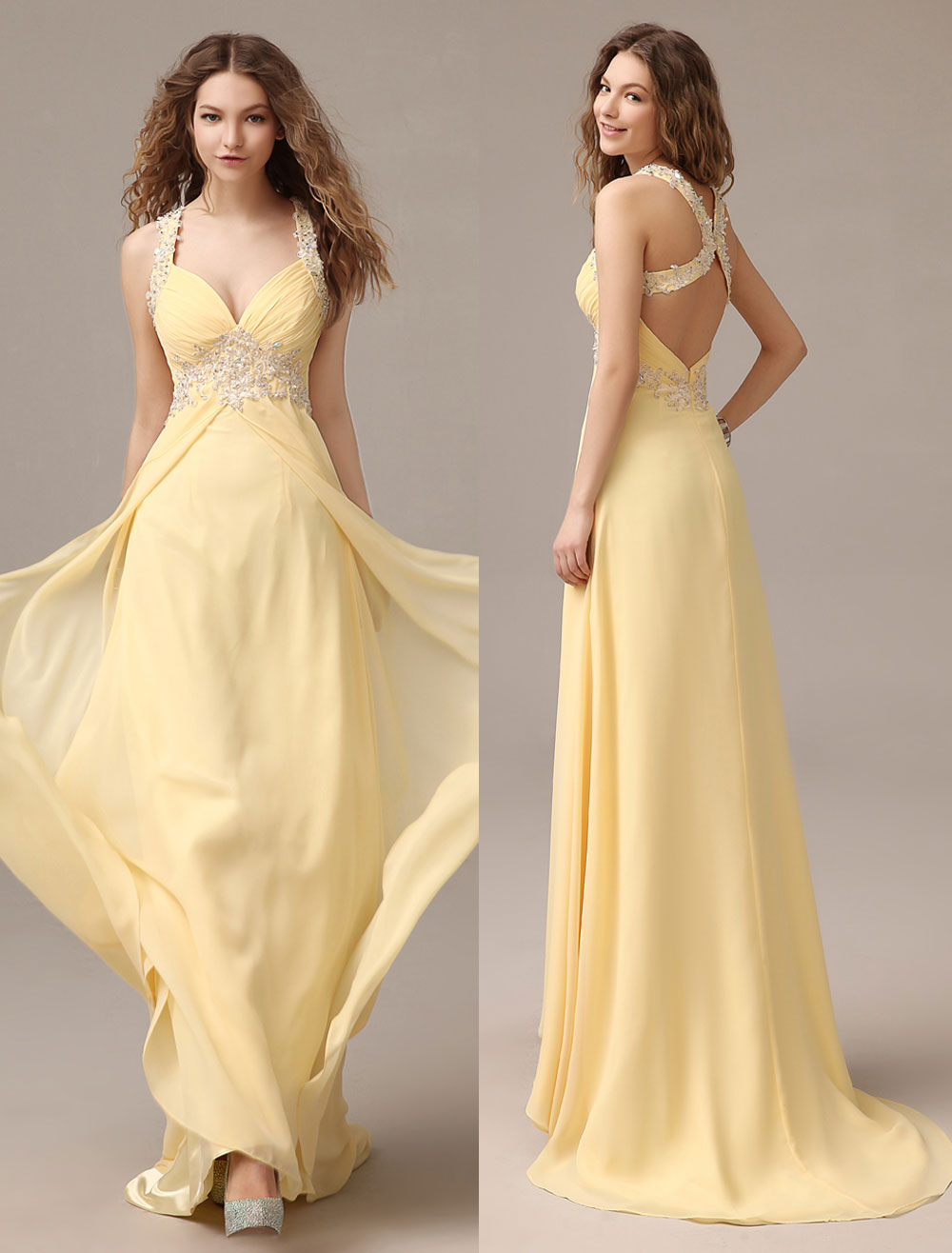 Prom Dresses Long Chiffon Daffodil Applique Beaded Evening Gown Back Design Sleeveless Formal Party Dresses With Train