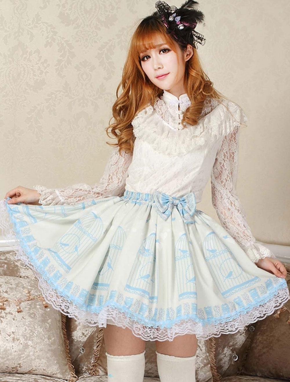 Elegant Blue Lace Bow Lolita Skirt
