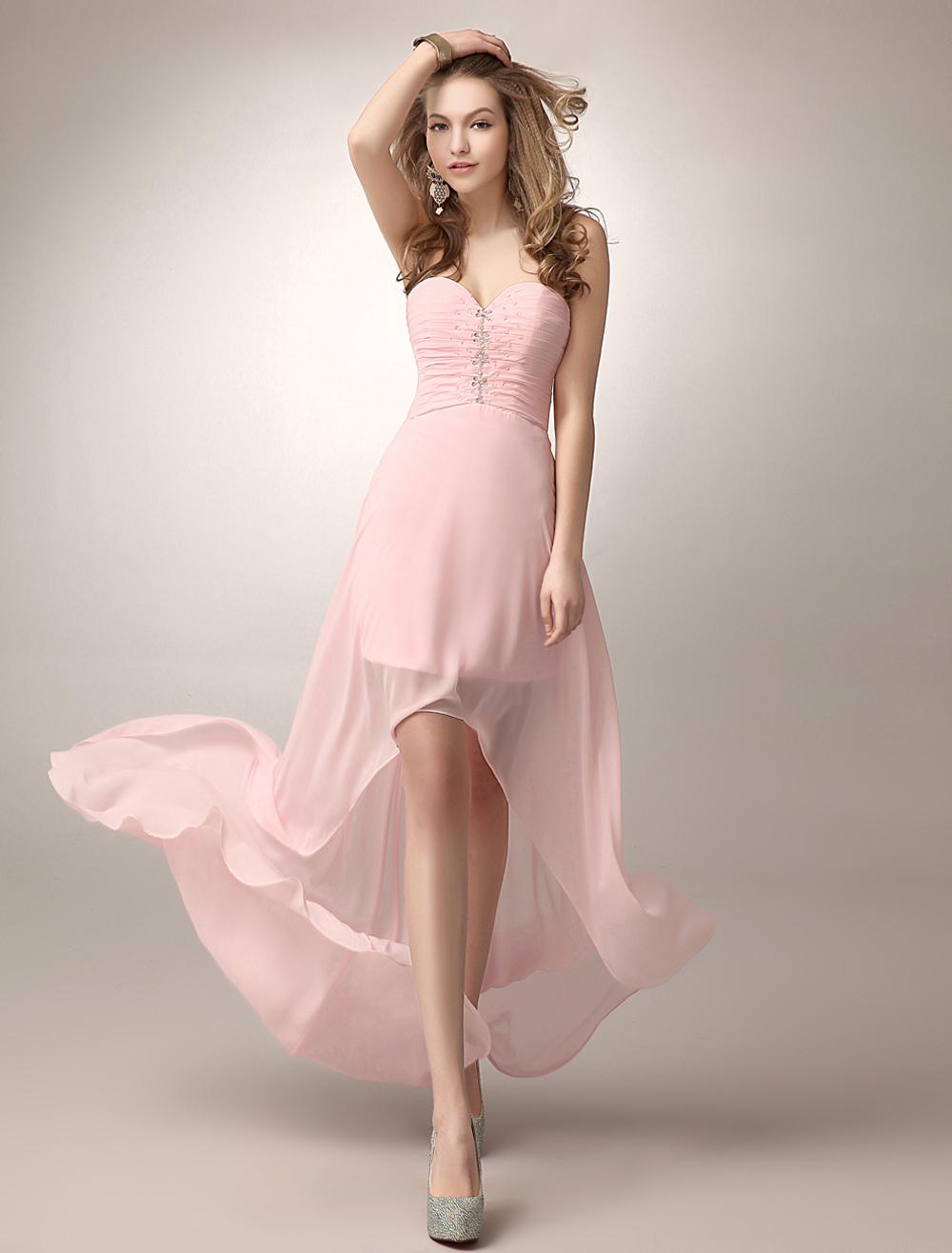 Blush Pink A-line Beading Chiffon Bridesmaid Dress With Sweetheart Neck