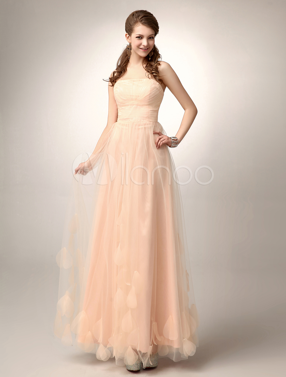 Peach Strapless Prom Dress A Line Flower Tulle Floor Length Homecoming Dress