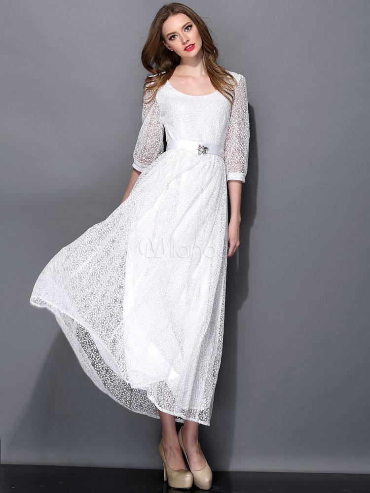 Steckdose online Großhändler heiß seeling original Weißes Kleid aus Seide mit Illusion-Ärmeln