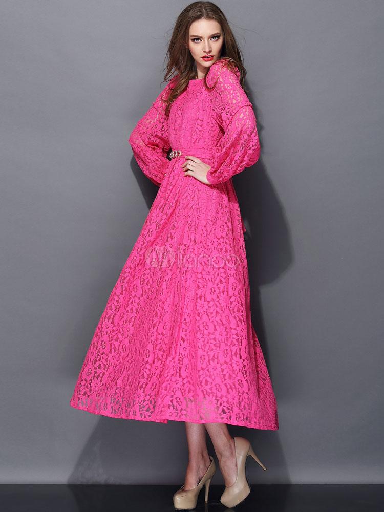 Vestido largo de encaje de color de fucsia con escote de estilo ...