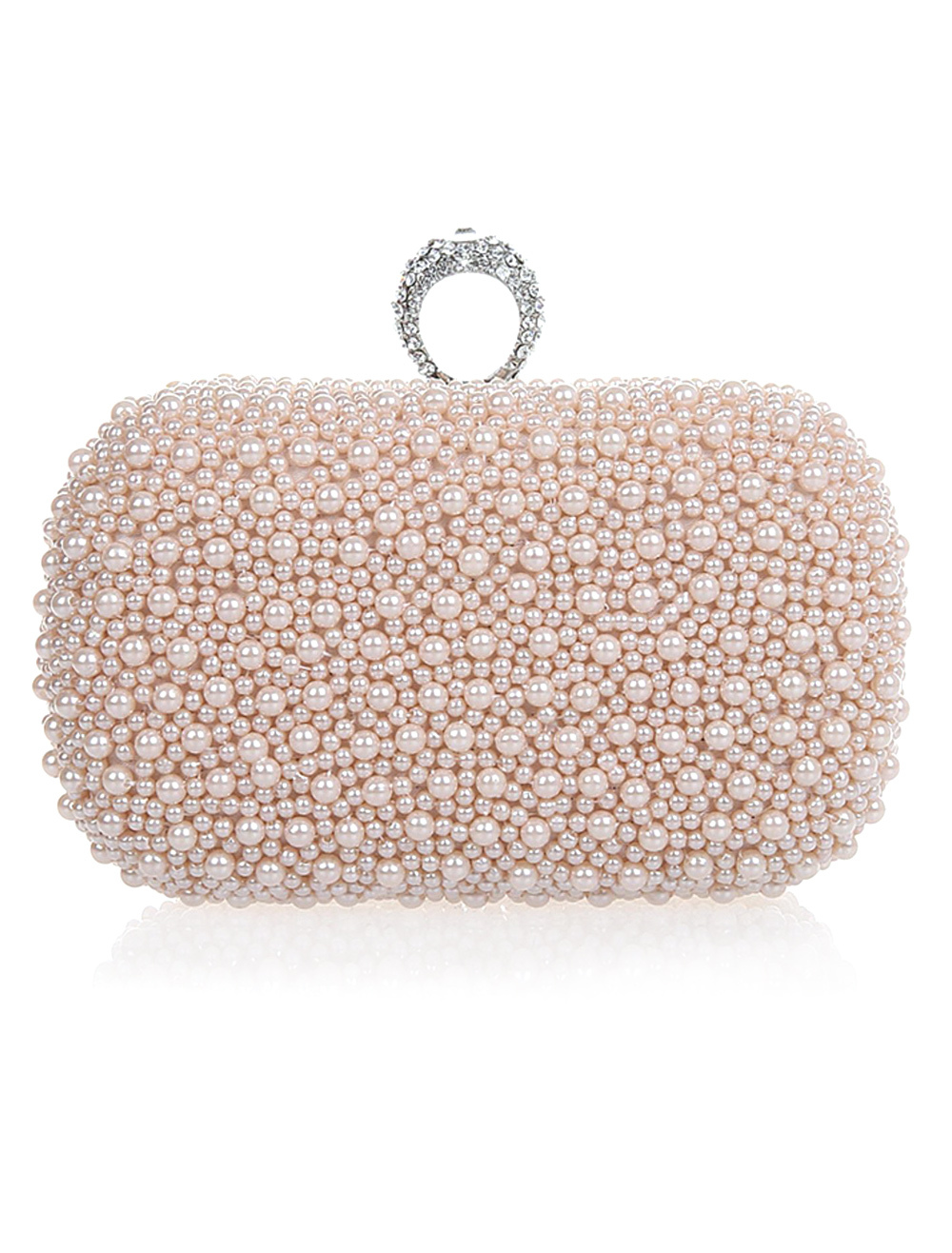 Light Pink Wedding Handbag Pearls Glitter Alloy Handbag