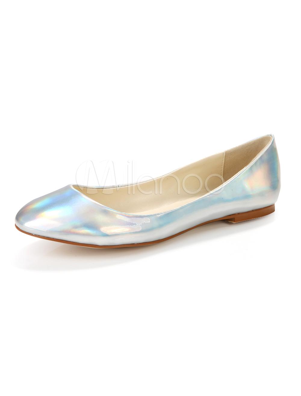 precio especial para apariencia elegante más tarde Zapatos planos de color plateado de moda