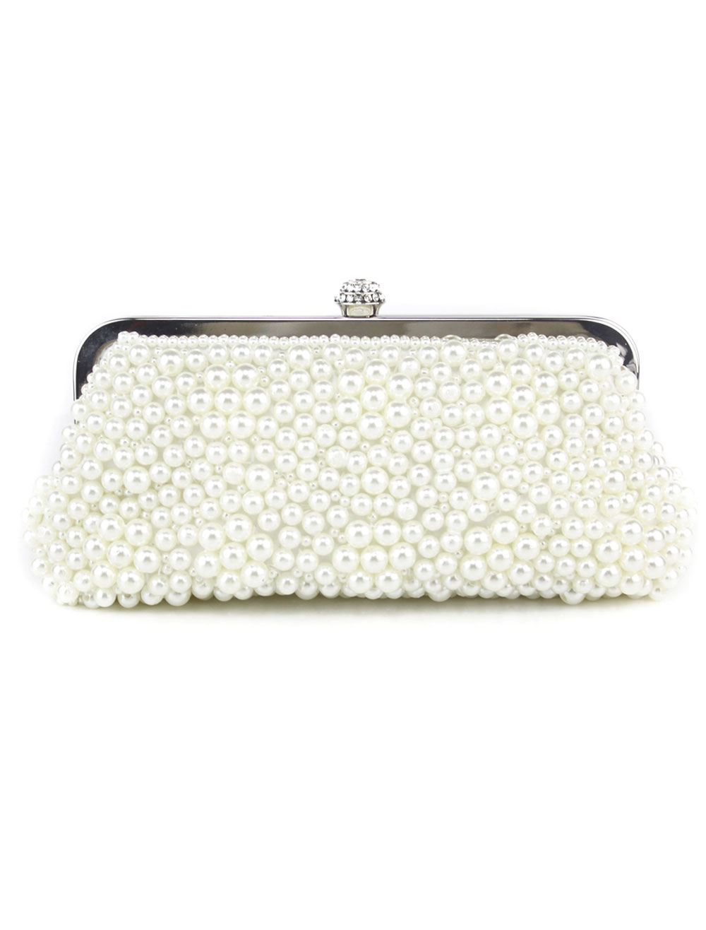 Buy Beautiful Glitter Ecru White Beaded Evening Bag for Woman for $40.49 in Milanoo store