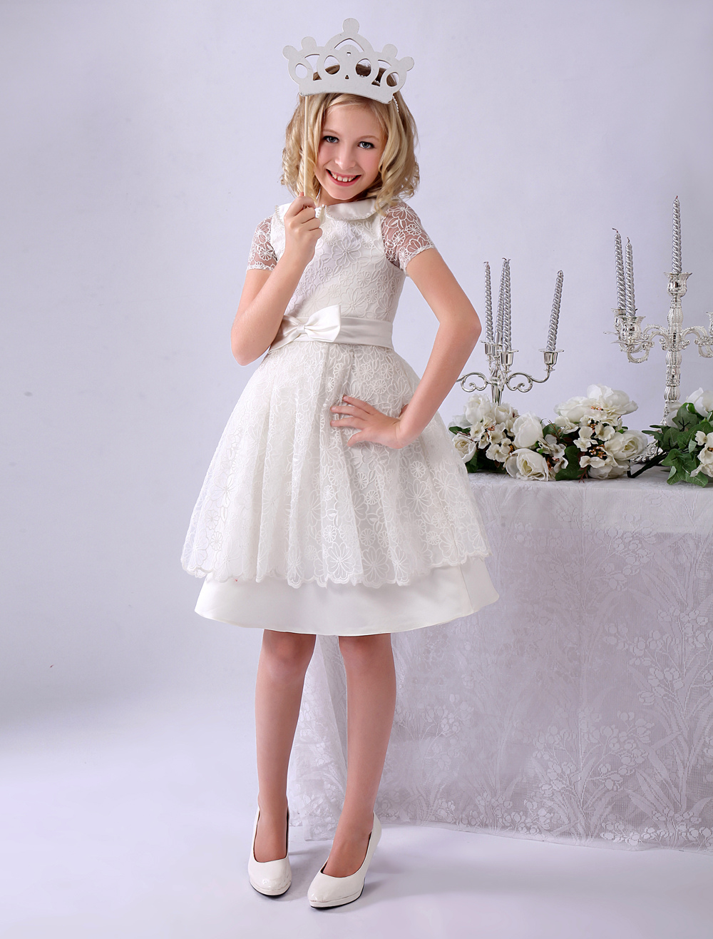Ivory A-line Knee-Length Tiered Lace Flower Girl Dress with Turndown Collar  Milanoo