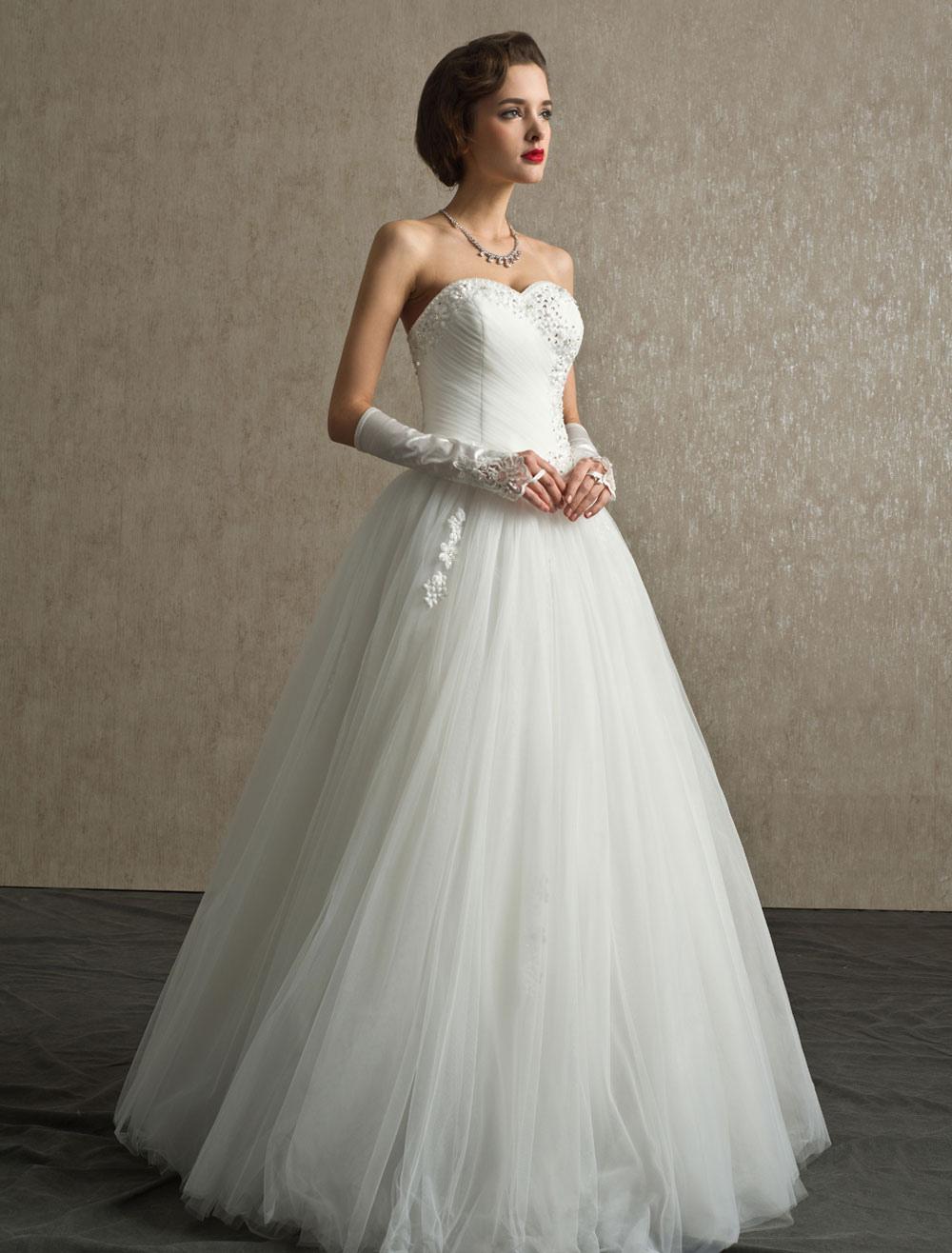Rhinestone A-line Floor-Length Ivory Wedding Dress with Sweetheart Strapless Neck