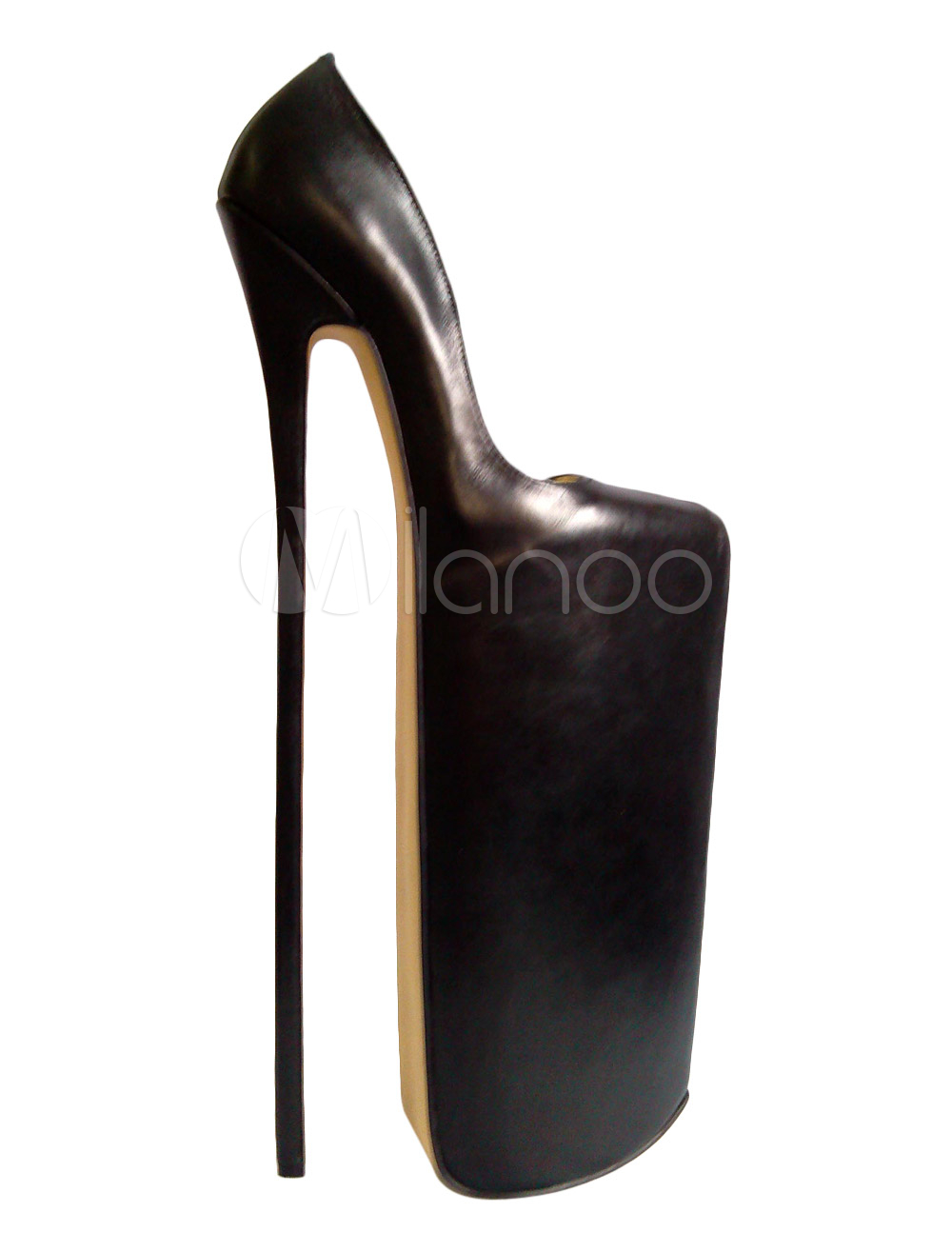 Women Sexy Shoes Cowhide Black Platform Sky High Heels