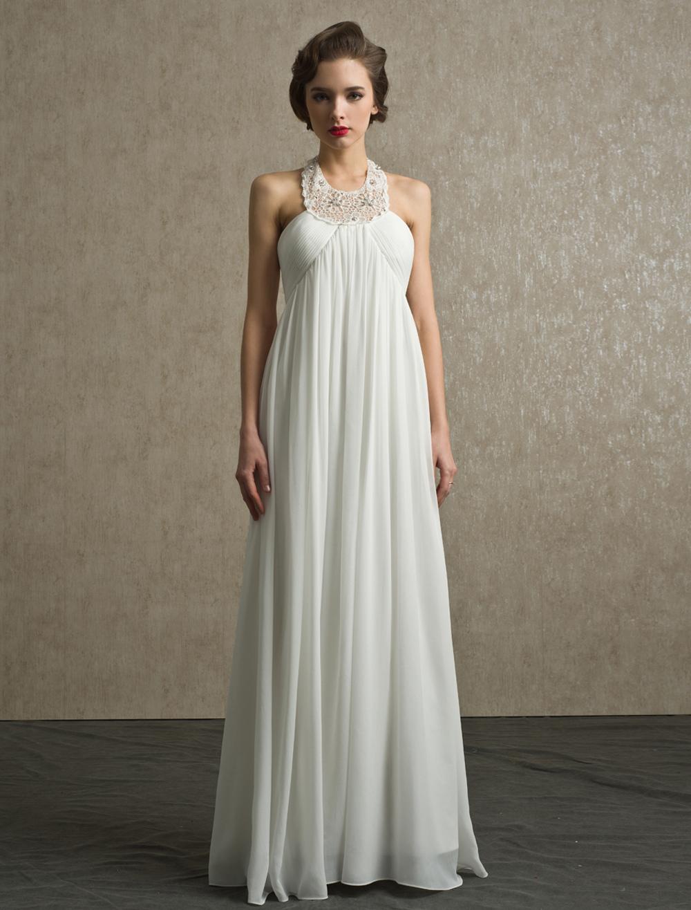 Boho Beach Wedding Dress A-line Floor-Length Ivory Rhinestone Bridal Wedding Gown With Halter Neck
