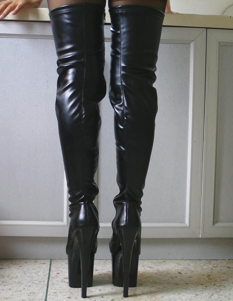 bottes 2018 noir sexy cuisse haute femmes plate forme bout amande talon aiguille bottes au. Black Bedroom Furniture Sets. Home Design Ideas