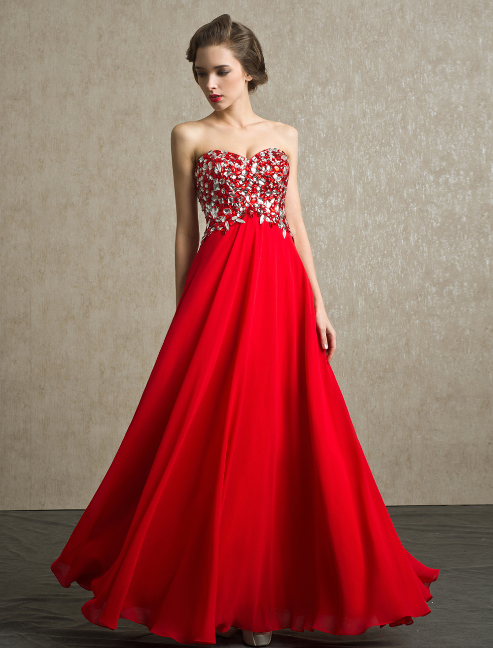 Red Prom Dresses 2018 Long Strapless Backless Evening Dress Rhinestone Chiffon Party Dress