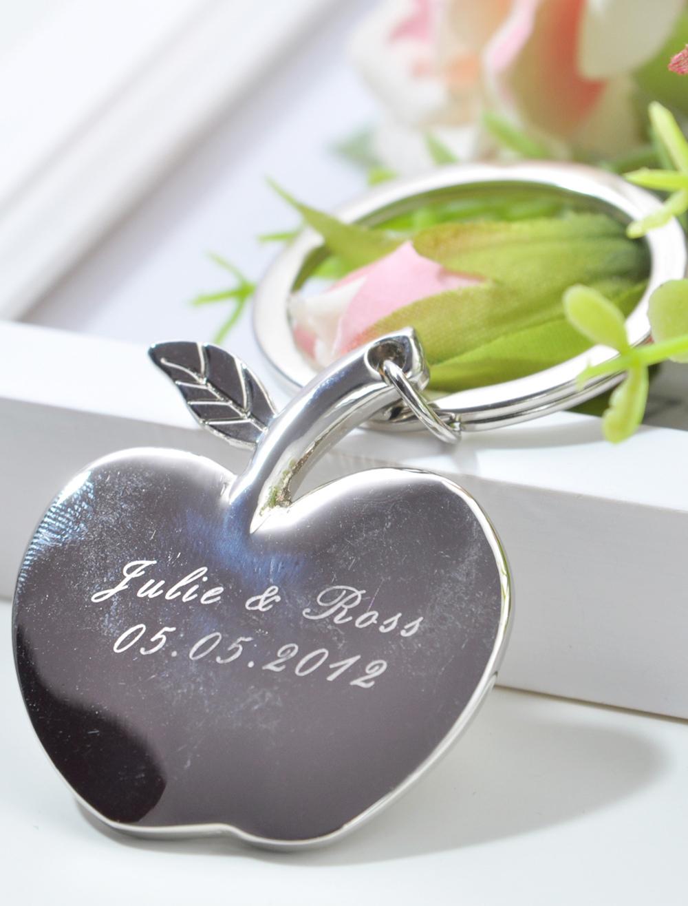 Apple Pattern Metal 4-Piece Keychain for Wedding