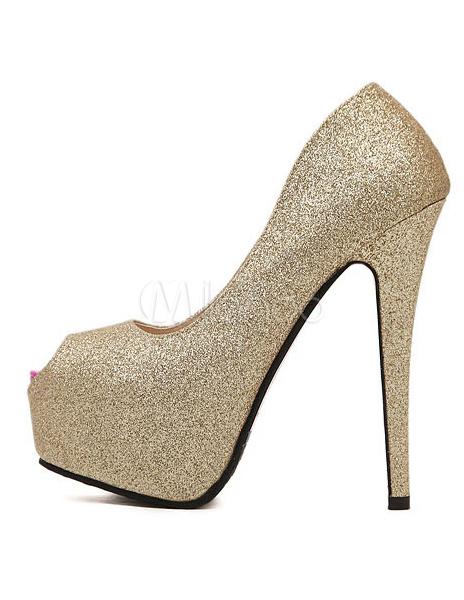 Zapatos Peep toe de tela con lentejuelas oradas rbLFb
