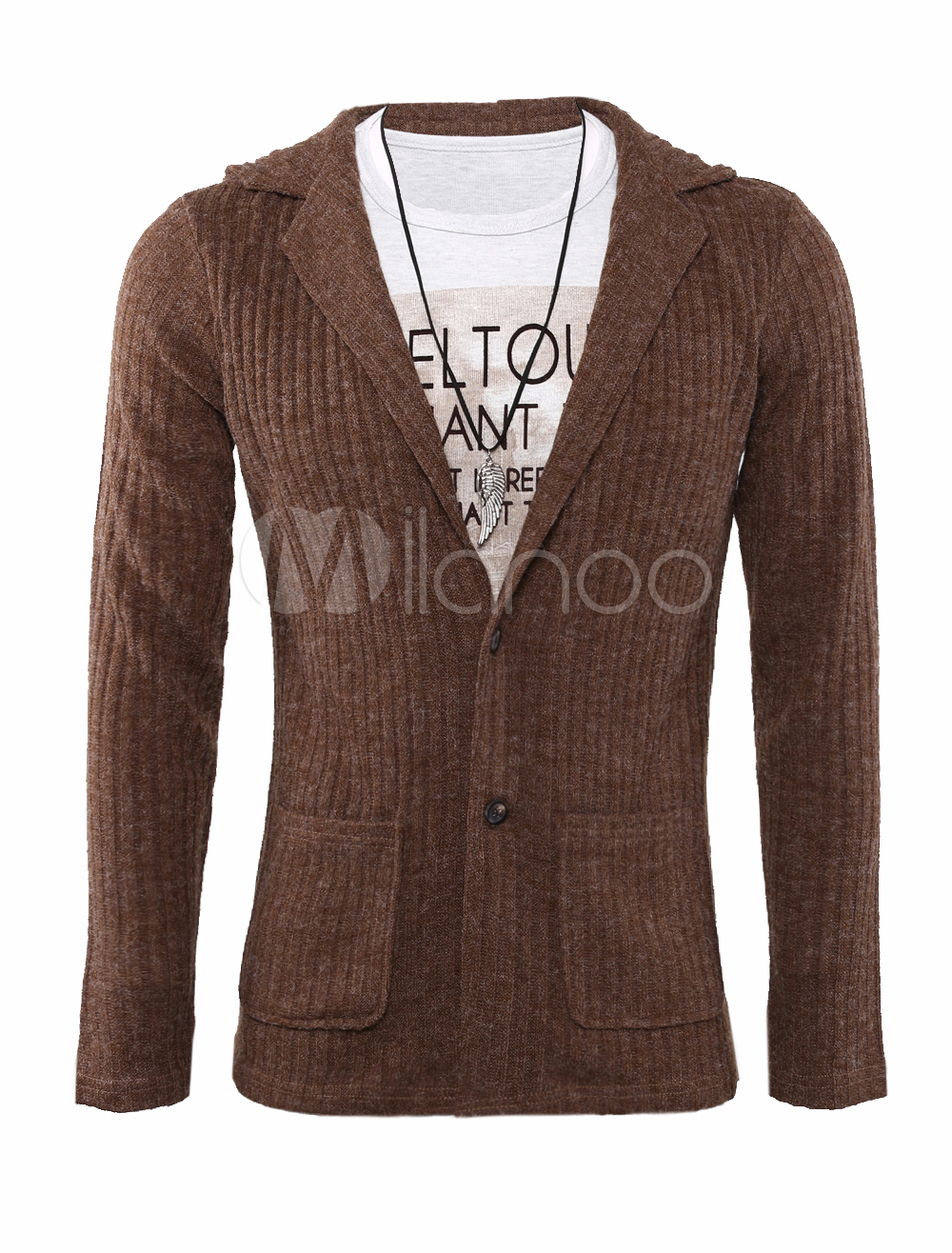 Turndown Collar Cable Cardigan with V-Neck