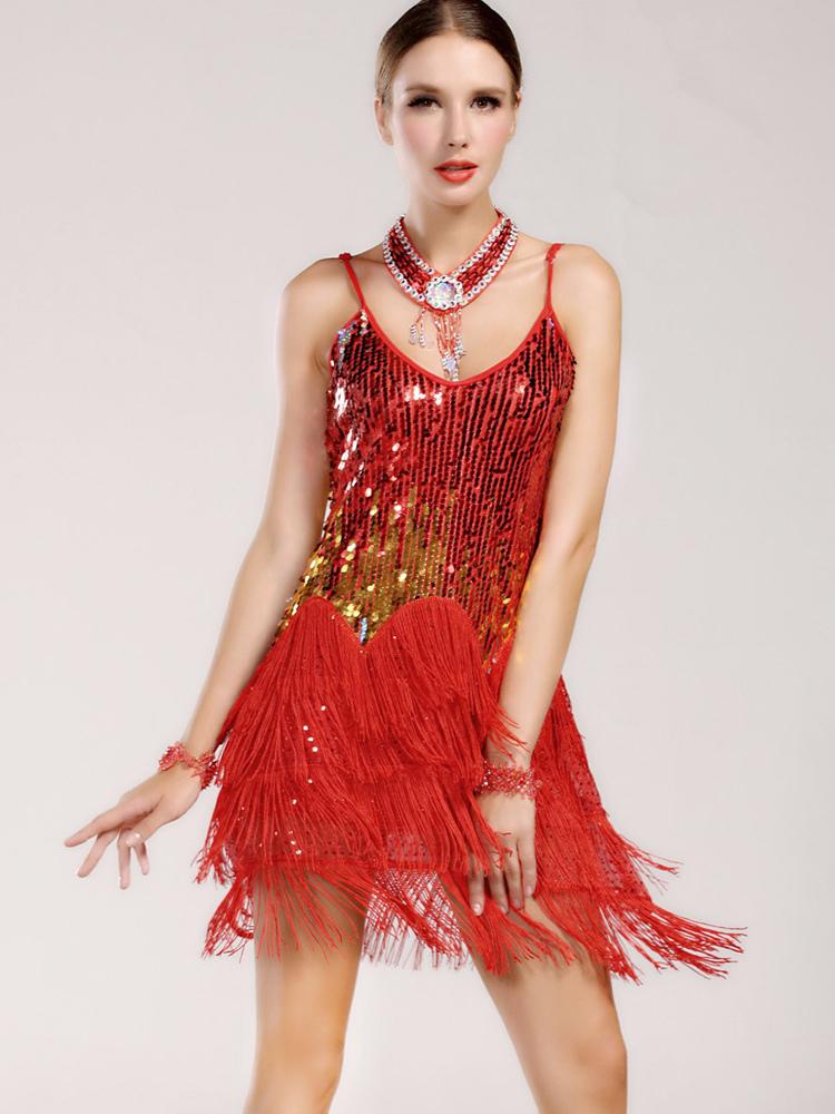 Glitter Fringe Trim Bodycon Womens Latin Dance Costume