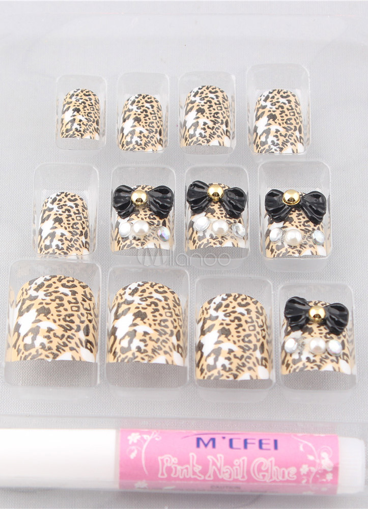 Multi Color Bow Leopard Print 12-Piece Resin Fashion Acrylic Nails ...