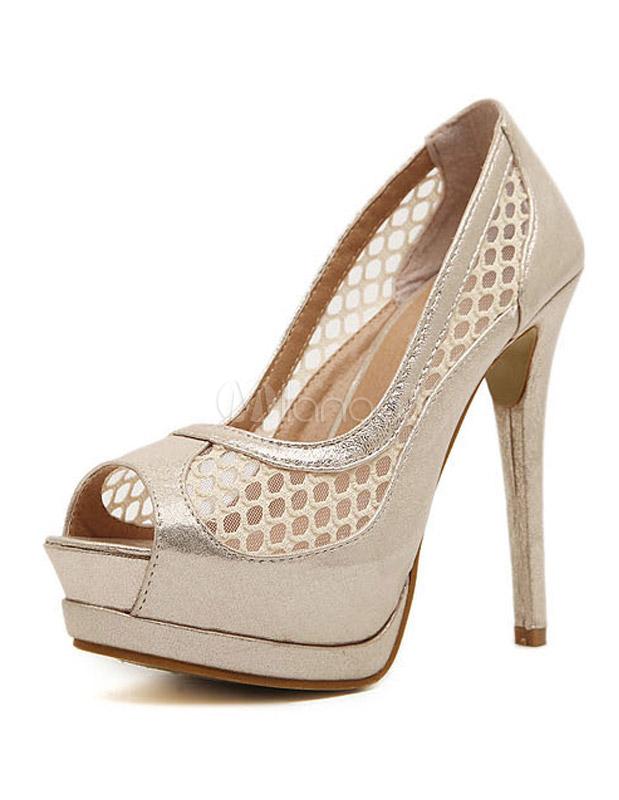 Zapatos peep toe de PU con mallas ZsqGKF3Z