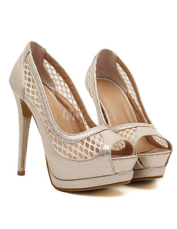 Zapatos peep toe de PU con mallas 7Cihyt