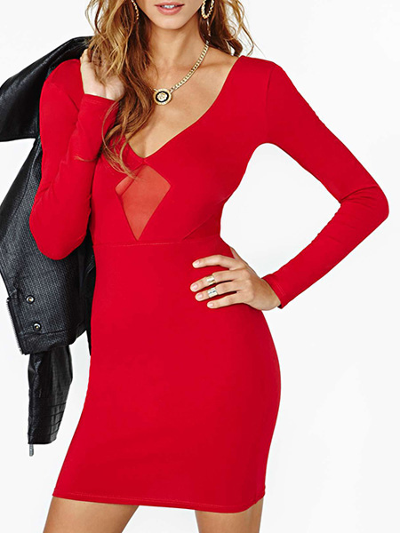 Long Sleeves Backless Polyester Deep V-neck Short Dress