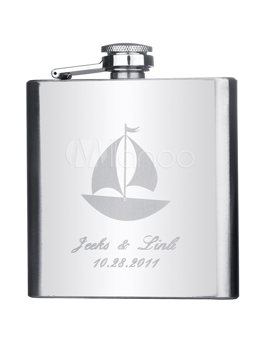 Silver 6 ounce Sailing Boat Personalized Metal Fantastic Flask for Wedding