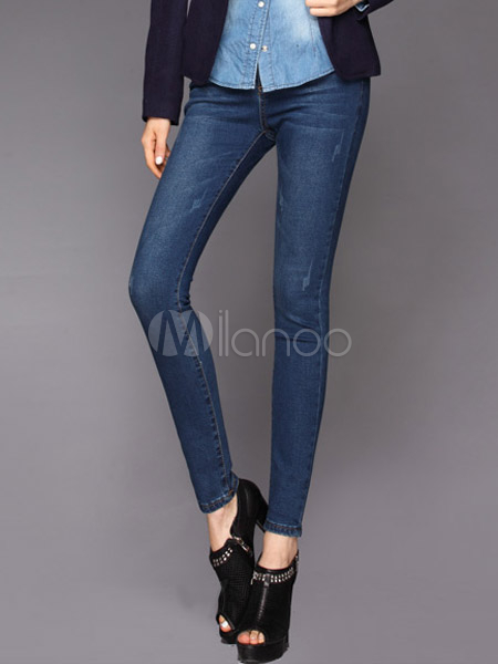 Charming Deep Blue Solid Color Cotton Blend Womens Jeans Cheap clothes, free shipping worldwide