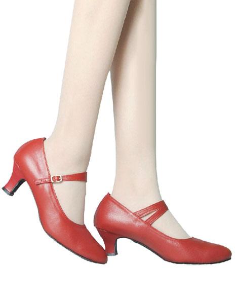 Almond Toe Slip-On Cowhide Fashion Ballroom Shoes