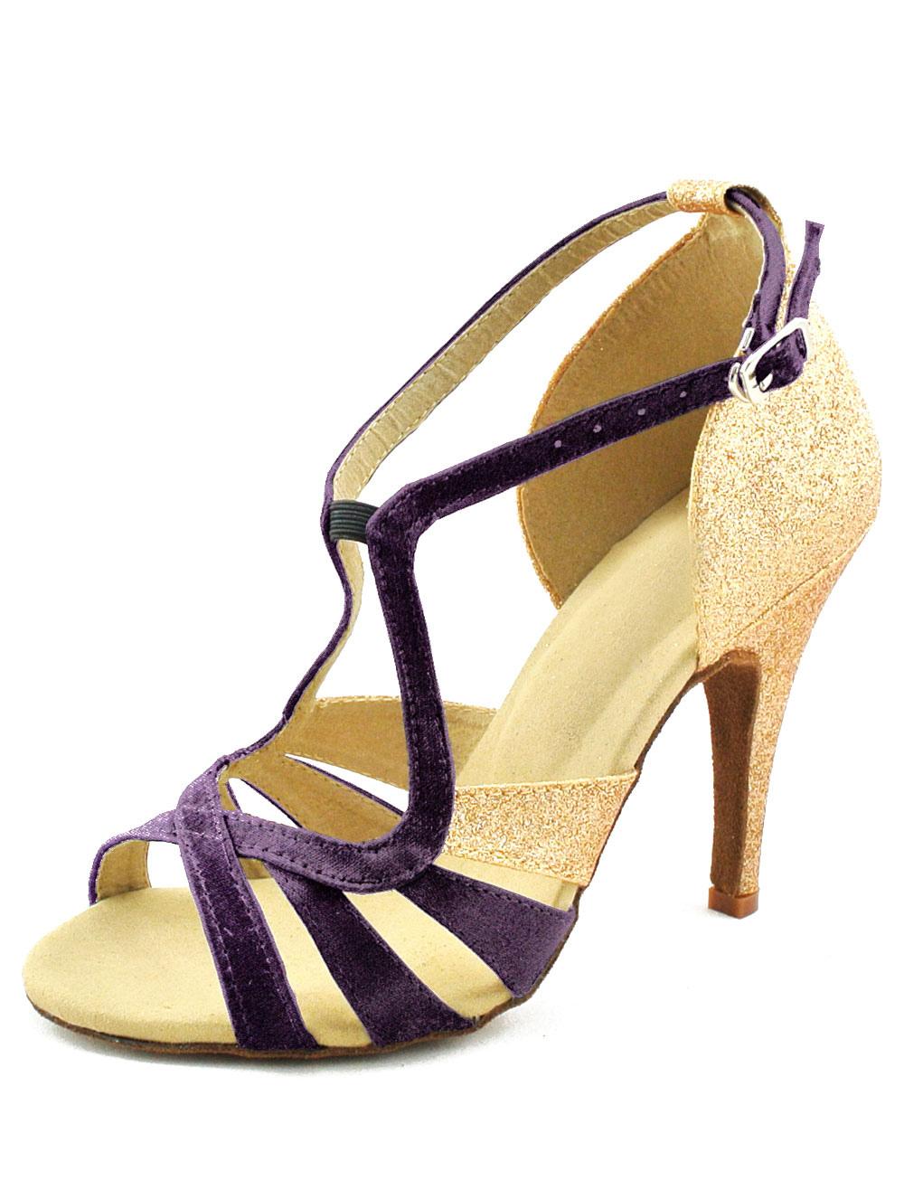 Glitter Peep Toe Latin Dance Sandals Chic Ballroom Shoes