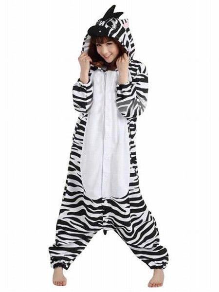 684cabff692d Kigurumi Pajama Zebra Onesie For Adult fleece Flannel Black White Animal  Costume Halloween-No.