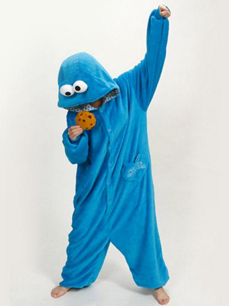 a5443aec4 Kigurumi pijamas sésamo Enterizo para niño lana franela azul calle Kigurumi  traje Halloween-No.