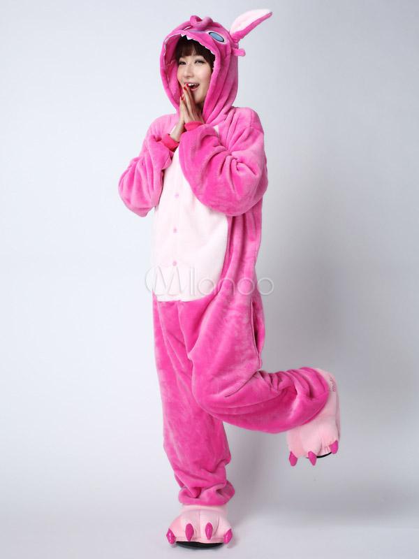 Kigurumi Pajama Stitch Onesie For Adult fleeceFlannel Pink Anime Cosplay Costume  Halloween-No.1 ... 9d49575ba