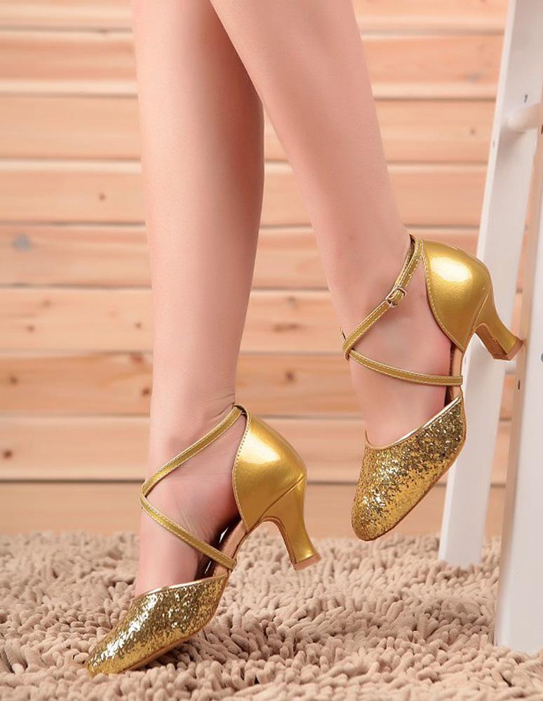 Zapatos de salón rojos con punta redonda de lentejuelas Criss Zapatos de baile cruzados Zapatos de baile latino FYaGY