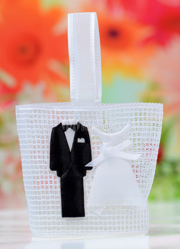 White Square Bride and Groom Wedding Favor Bags Set of 12