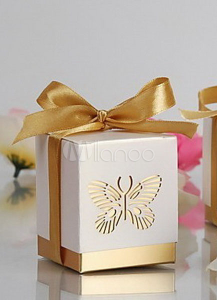 Gold Butterfly Pearl Paper Wedding Favor Boxes Set of 12