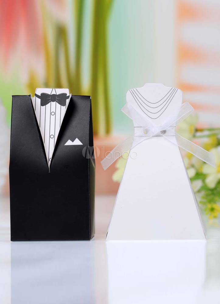 Pearl Paper Wedding Favor Boxes Set of 12