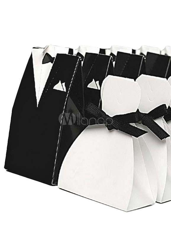 Black White Bride&Groom Pearl Paper Wedding Favor Boxes Set of 12