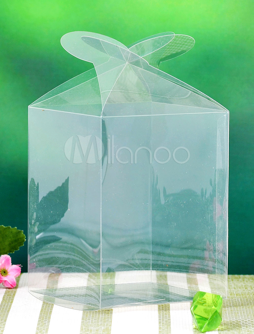Transparent Square Heart Wedding Favor Boxes Set of 12
