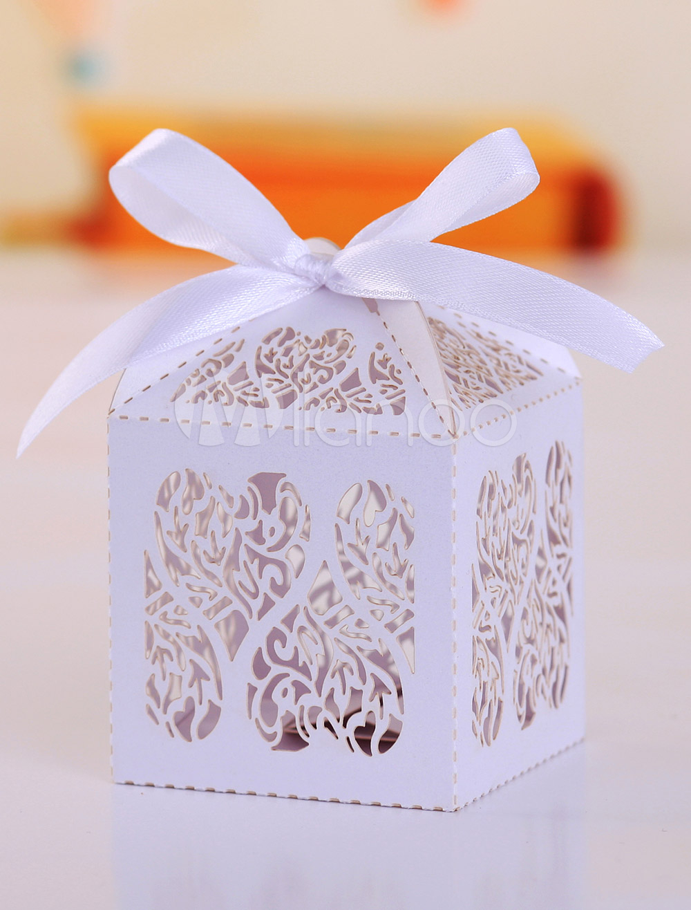 Artwork Hollow Out White Square Wedding Favor Boxes Set of 12