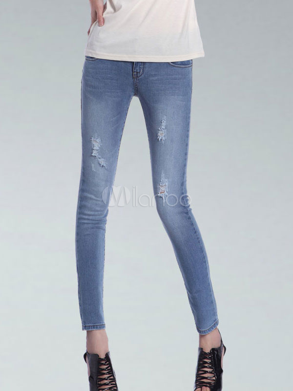 Blue Low Rise Waist Distressed Denim Womens Jeans