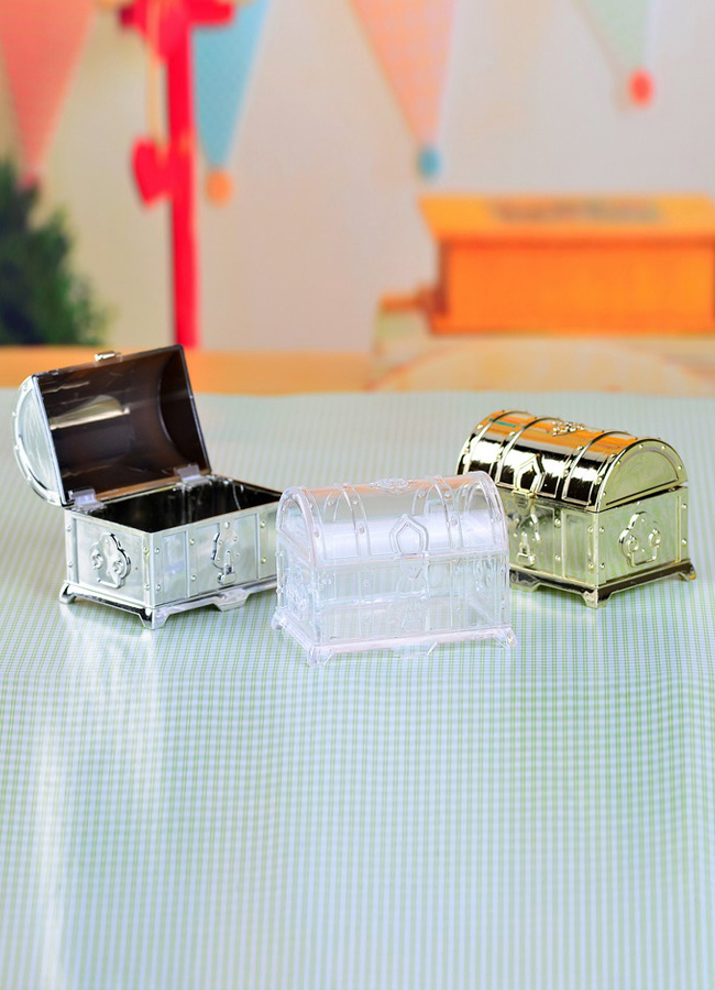 Treasure Box Style Plastic Wedding Favor Boxes Set of 12