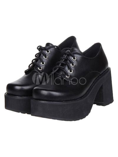 Gothic Black Lolita Square Heels Shoes Platform with Shoelace
