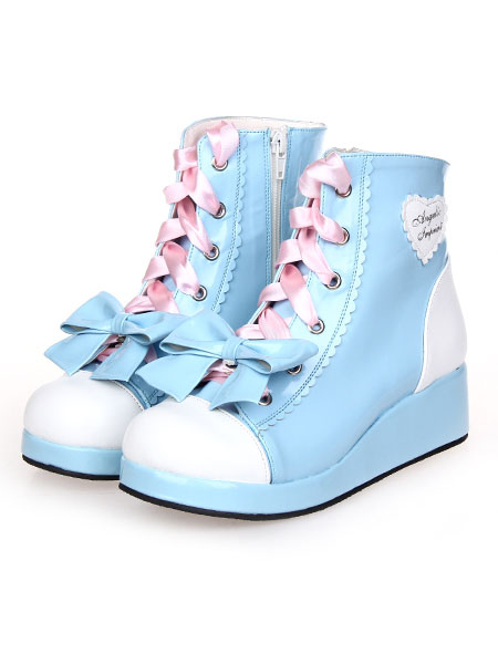 Sky Blue Lolita Boots Wedge Heels Lace Up Bow Decor Zip Designed