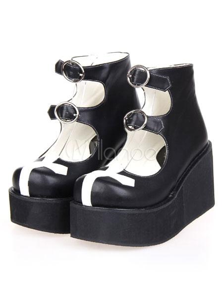 Ankle Strap Two-Tone Street Wear Black PU Leather Platform Lolita Shoes